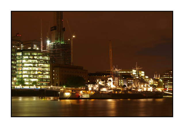 HMS Belfast night England and Wales