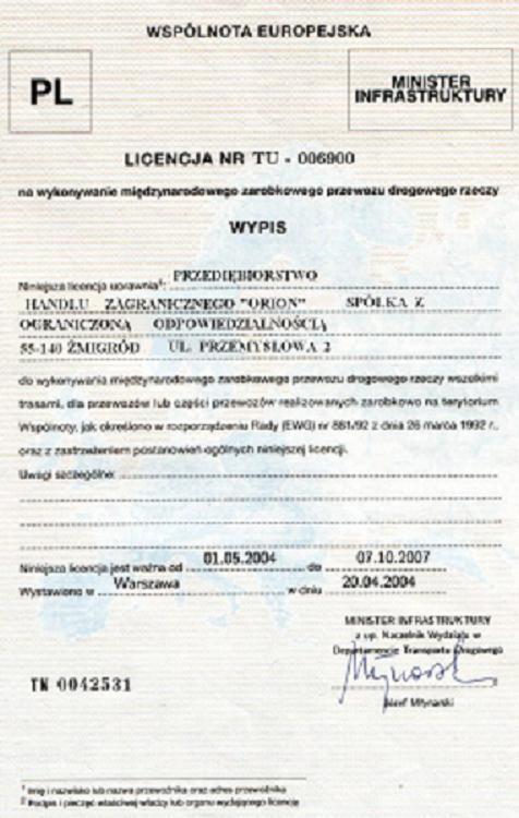 wypis licencja międzynarodowa phz orion sp z o o -