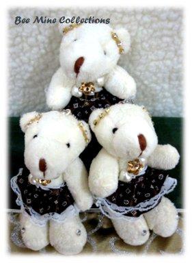 3 Bears in Fancy Dark Brown Dress Bouquet - 185 -