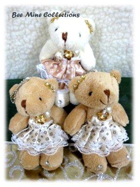 3 Bears in Fancy Light Brown Dress Bouquet-185 -