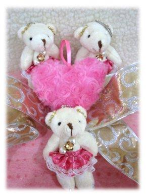 3 Bears in Fancy Pink Dress w 1 Heart Bouquet -195 -