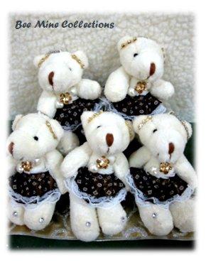 5 Bears in Fancy Dark Brown Dress Bouquet -235 -