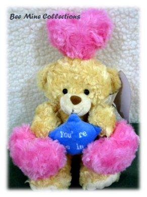 Recorder Doll Bear Star w 3 hearts bouquet-255 -