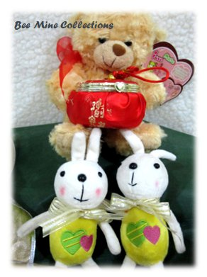 Recorder Doll Chinese New Year w 2 rabbit bouquet  -