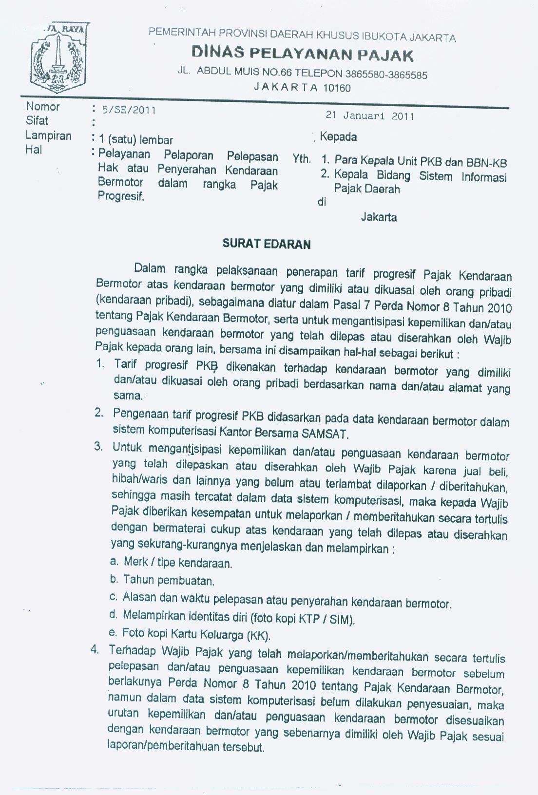Surat Edaran Dinas Pelayanan Pajak Dki Jakartajpg Picture