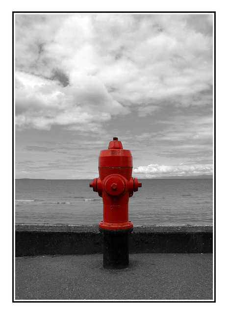 hydrant at the beach Black & White and Sepia