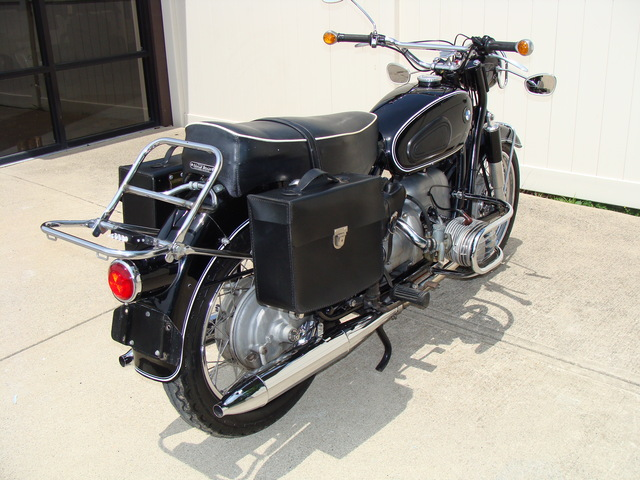 644397 '69 R50-2 Black. Denfield, Fehling 030 SOLD.....1969 BMW R50/2 Black, #644397. Has 32,754 Mi. 10K Service. Earls fork, Albert headlight mirrors, Headlight guard, Fahling engine guards, Denfeld leather saddlebags.