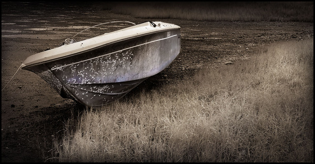 Royston BlueSepia Boat Black & White and Sepia