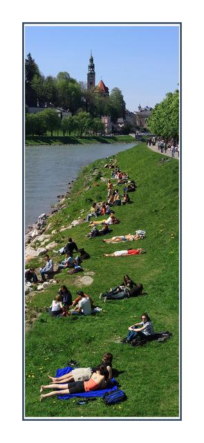 Salzburg river bank Austria & Germany Panoramas