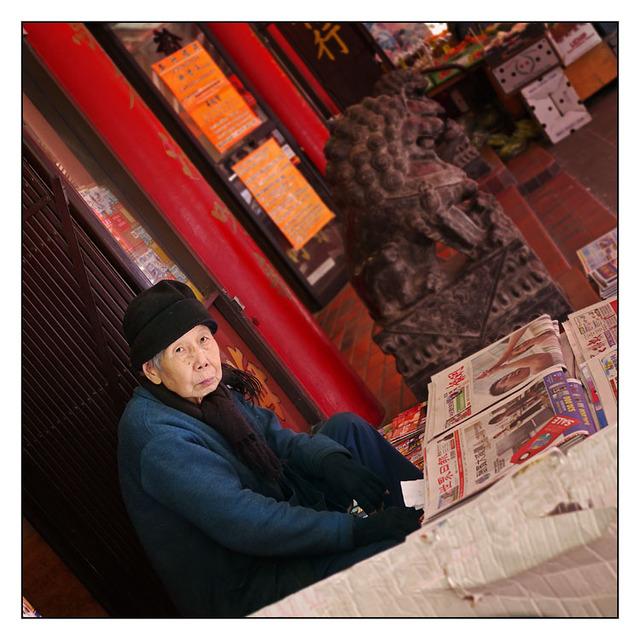 Newspaper seller British Columbia Canada